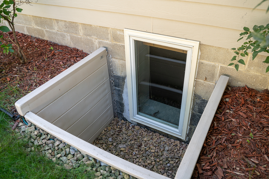 an egress window in a basement bedroom